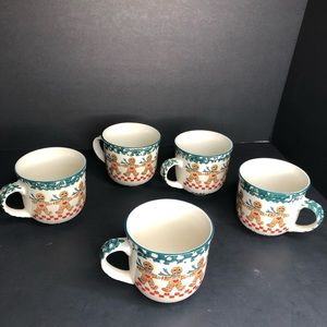 5 VTG Gingerbread Coffee Tea Mugs 1 w/ tiny ding